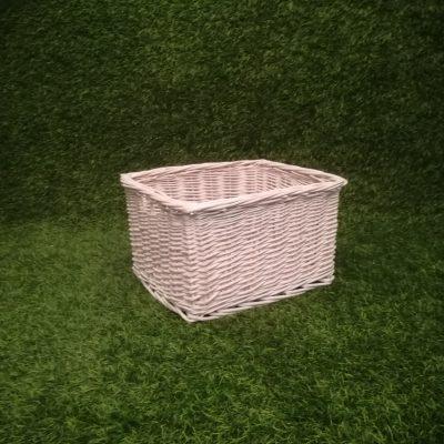 Balts pīts grozs (GRO32) grozu noma, grozi, grozs Белая плетеная корзина White wicker basket
