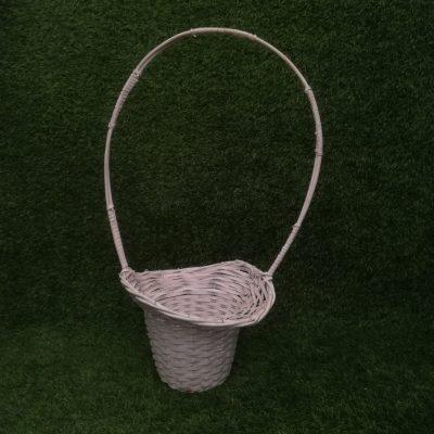 Balts pīts grozs (GRO8) grozu noma, grozi Белая плетеная корзина White wicker basket