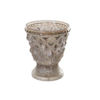 Stikla/sudraba svečturis Стеклянный/серебряный подсвечник Glass / silver candlestick