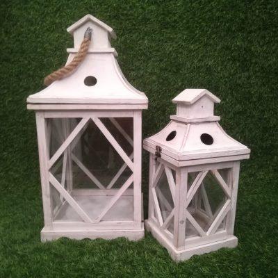 Baltas koka sveču laternas (SL24) Белые свечные фонари White candle lanterns svečturu noma
