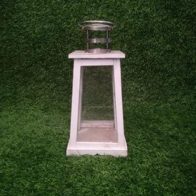 Balta koka sveču laterna (SL25) Белый свечной фонарь White candle lantern svečturu noma