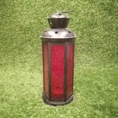 Sarkana metāla sveču laterna Красный свечной фонарь Red candle lantern laternu noma. svečturu noma