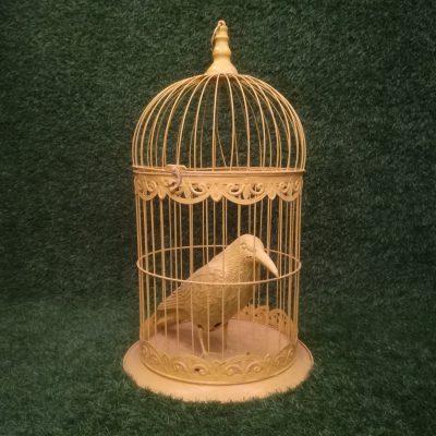 Dzeltens metāla putnu būris Yellow bird cage Желтая клетка для птиц