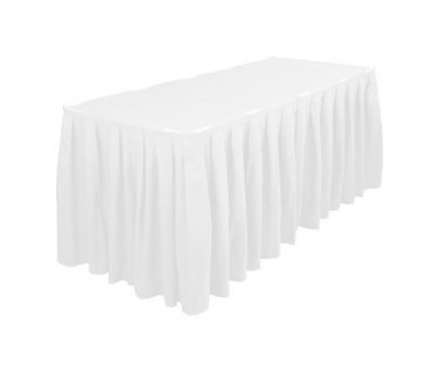 Balti galda svārki 2.5m Белая фуршетная юбка White table skirt galda svārku noma iznomā galda svārkus