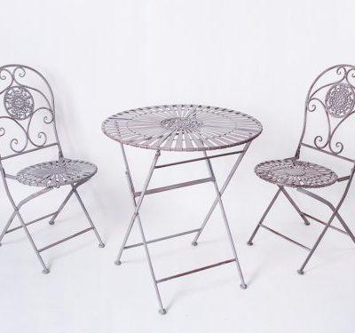 Franču metāla galds + krēsli French table + chairs Французский столик + стулья